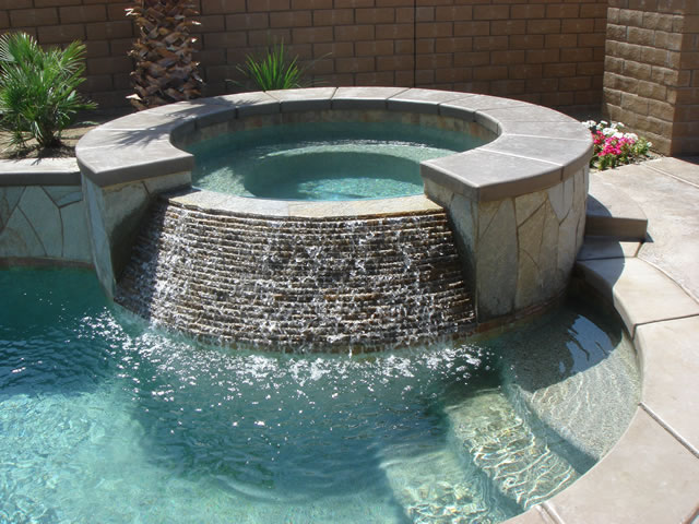 Inground Spas With Stack Stone : Palm desert pools stonecreek and spas stacked